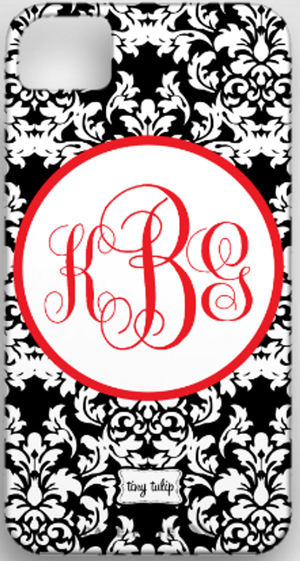Monogrammed Phone Cover iphone blackberry samsung www.tinytulip.com Black Damask with Red Hollow Circle Emma Script Font
