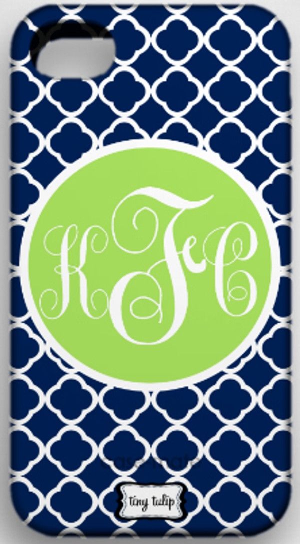Monogrammed Phone Cover iphone blackberry samsung www.tinytulip.com Navy Tiles Pattern with Solid Circle Lime Green Emma Script Font