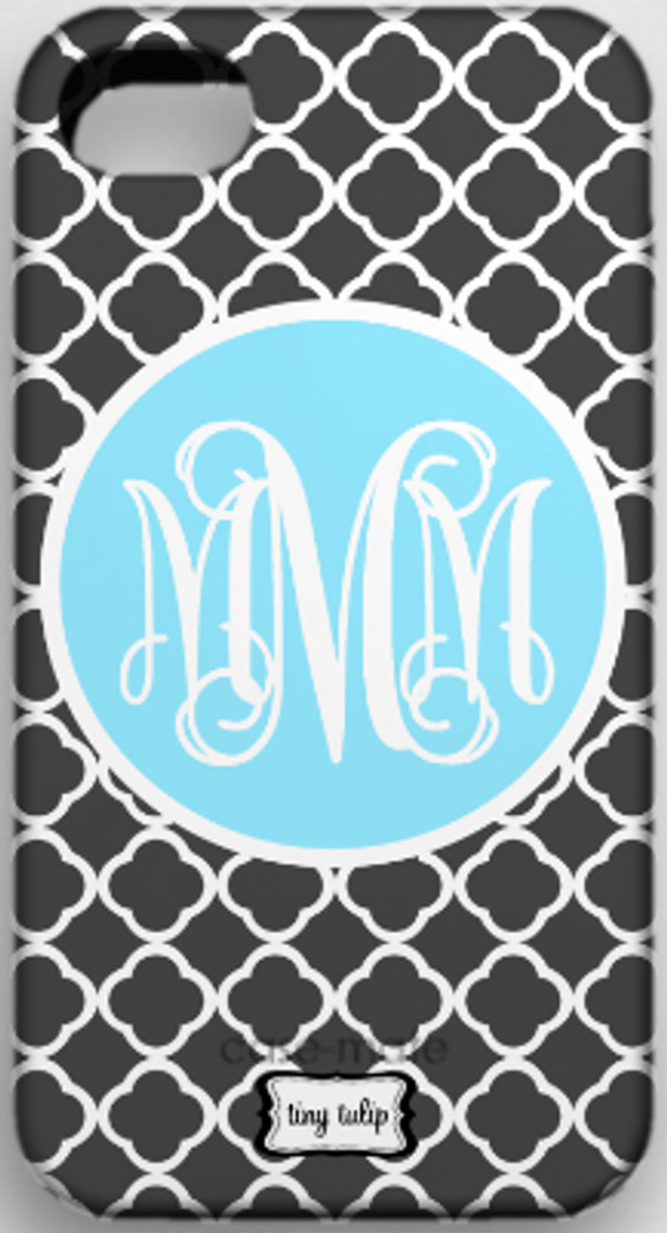 Monogrammed Phone Cover iphone blackberry samsung www.tinytulip.com Charcoal Gray Tiles with Baby Blue Solid Circle Interlocking Font