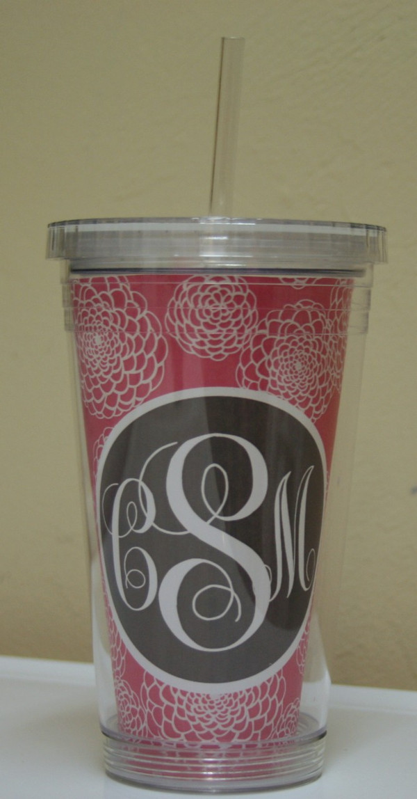 Insulated Acrylic Straw Cup Monogrammed www.tinytulip.com Lilly Pink Zinnia Pattern with Charcoal Gray Solid Circle Emma Script Font