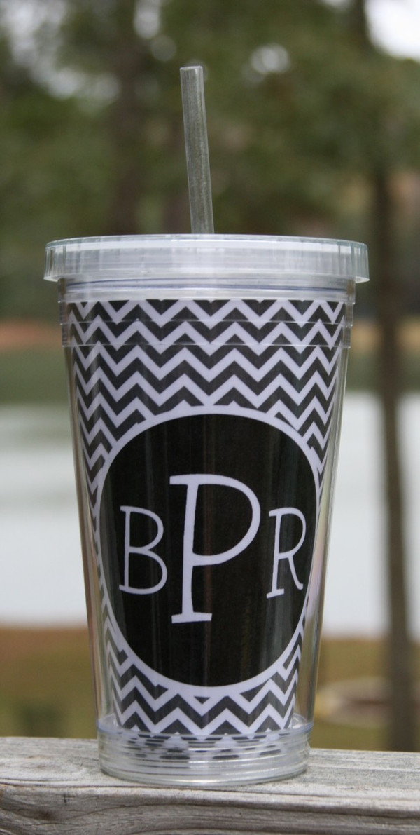 Insulated Acrylic Straw Cup Monogrammed www.tinytulip.com Charcoal Gray Chevron Pattern with Black Solid Circle Blake Font