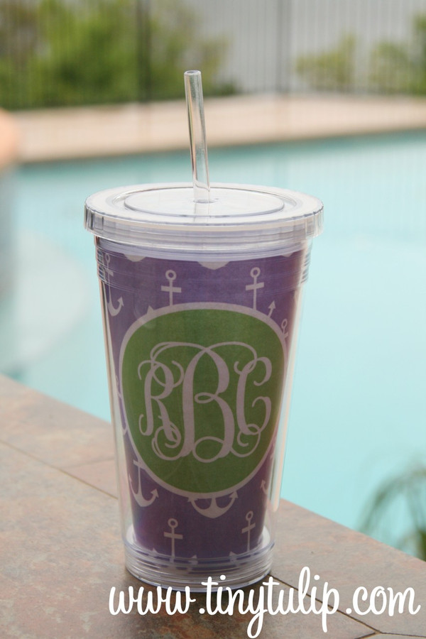 Insulated Acrylic Straw Cup Monogrammed www.tinytulip.com Lavander Anchor Pattern with Lime Green Solid Circle Interlocking Script Font