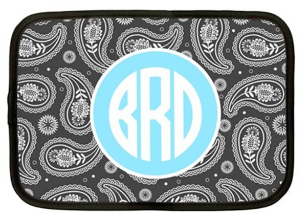 Monogram iPad Kindle DX Netbook Case   www.tinytulip.com Gray Paisley Pattern with Solid Circle Baby Blue Circle Font