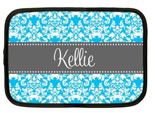 Monogram iPad Kindle DX Netbook Case   www.tinytulip.com Turquoise Damask Pattern with Classic Dot Ribbon Charcoal Gray Cursive Font