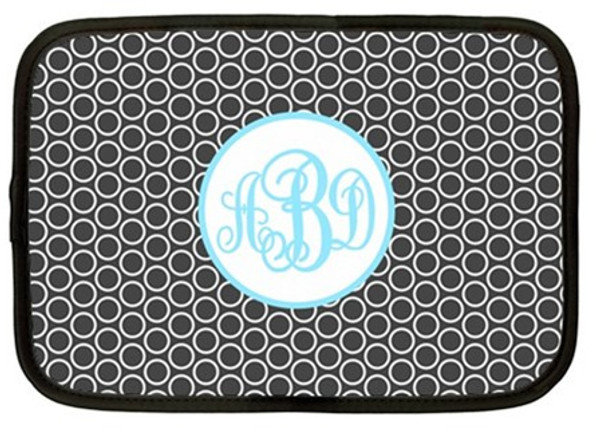 Monogram iPad Kindle DX Netbook Case   www.tinytulip.com Charcoal Gray Circles Pattern with Hollow Circle Baby Blue Emma Script Font