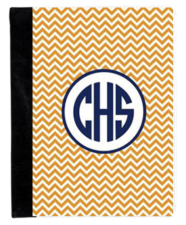 Monogrammed iPad 2 Folding Portfolio Book Case  www.tinytulip.com Orange Chevron Pattern with Hollow Circle Navy Circle Font