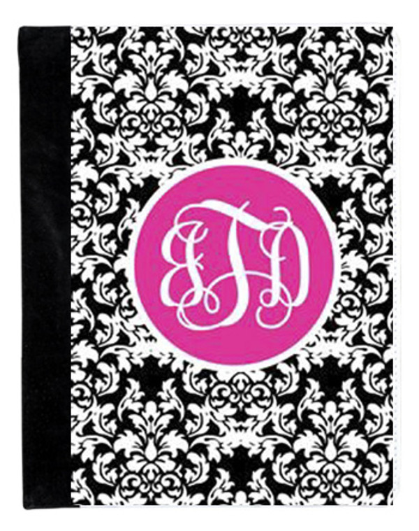 Monogrammed iPad 2 Folding Portfolio Book Case  www.tinytulip.com Black Damask Pattern with Solid Circle Hot Pink Interlocking Font