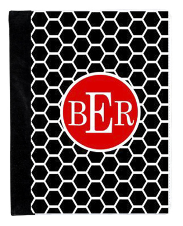 Monogrammed iPad 2 Folding Portfolio Book Case  www.tinytulip.com Black Honeycomb Pattern with Solid Circle Red Romana Font