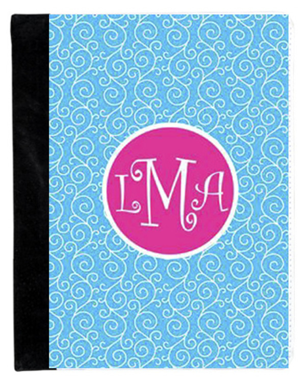 Monogrammed iPad 2 Folding Portfolio Book Case  www.tinytulip.com Turquoise Swirls Pattern with Solid Circle Hot Pink Curly Font