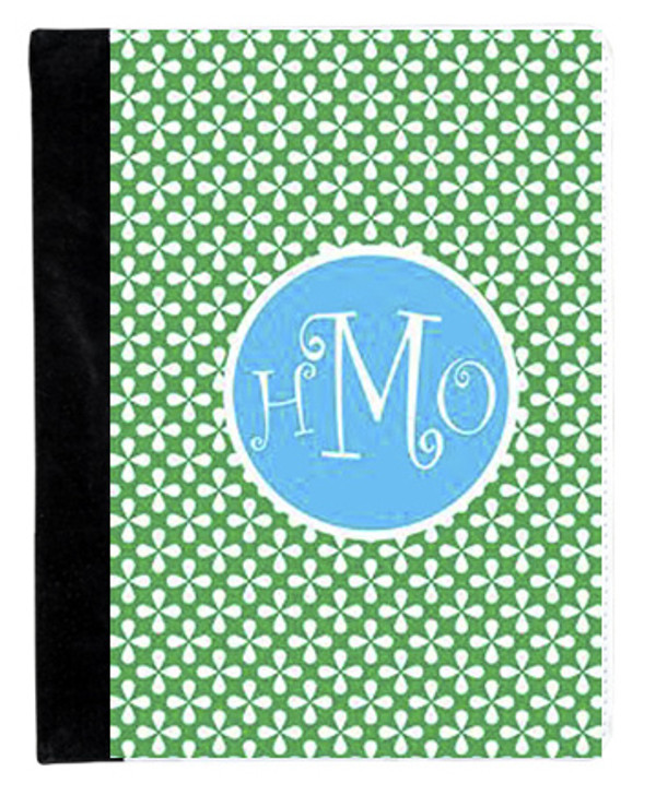 Monogrammed iPad 2 Folding Portfolio Book Case  www.tinytulip.com Kelly Green Clover Pattern with Solid Circle Turquoise Curly Font