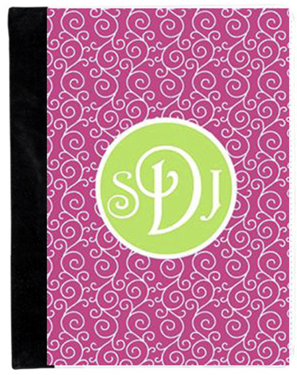 Monogrammed iPad 2 Folding Portfolio Book Case  www.tinytulip.com Hot Pink Swirls Pattern with Solid Circle Lime Green Victorian Font