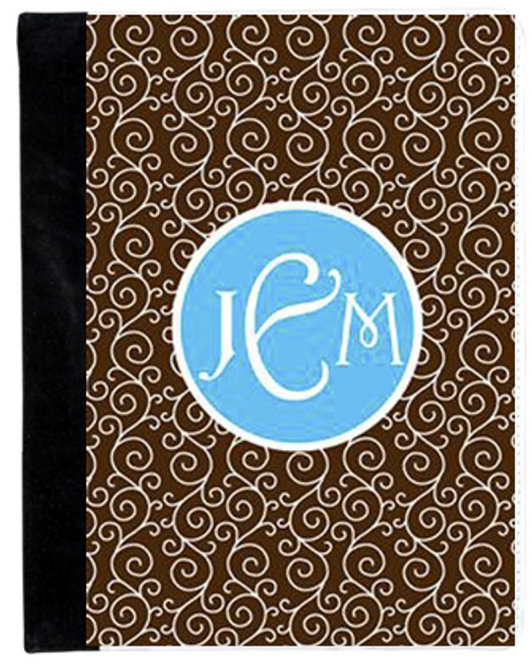 Monogrammed iPad 2 Folding Portfolio Book Case  www.tinytulip.com Brown Swirls Pattern with Solid Circle Turquoise Victorian Font
