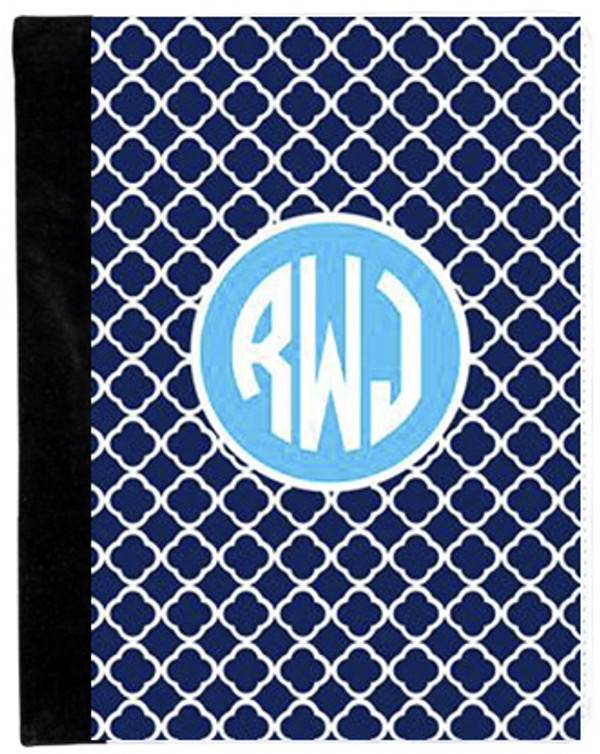 Monogrammed iPad 2 Folding Portfolio Book Case  www.tinytulip.com Navy Tiles Pattern with Solid Circle Turquoise Circle Font