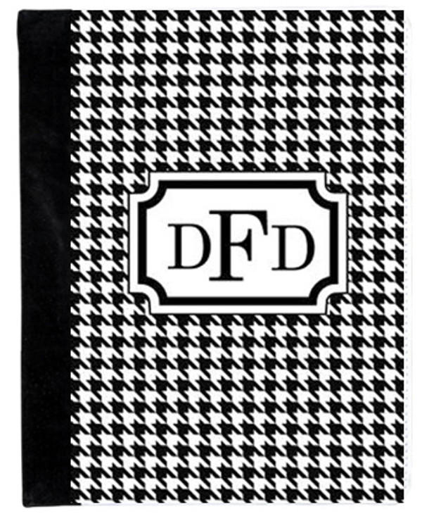 Monogrammed iPad 2 Folding Portfolio Book Case  www.tinytulip.com Black Houndstooth Pattern with Classic Frame Black Romana Font