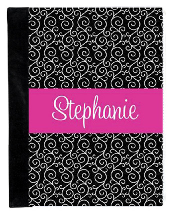 Monogrammed iPad 2 Folding Portfolio Book Case  www.tinytulip.com Black Swirls Pattern with Solid Ribbon Hot Pink Cursive Font