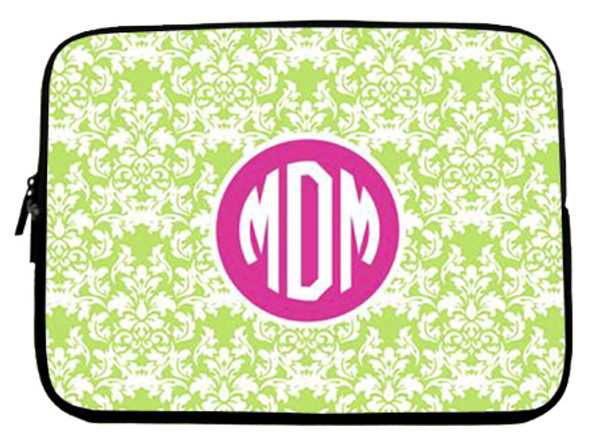 Monogram Neoprene Laptop Sleeve Case  www.tinytulip.com Lime Green Damask Pattern with Solid Circle Hot Pink Circle Font