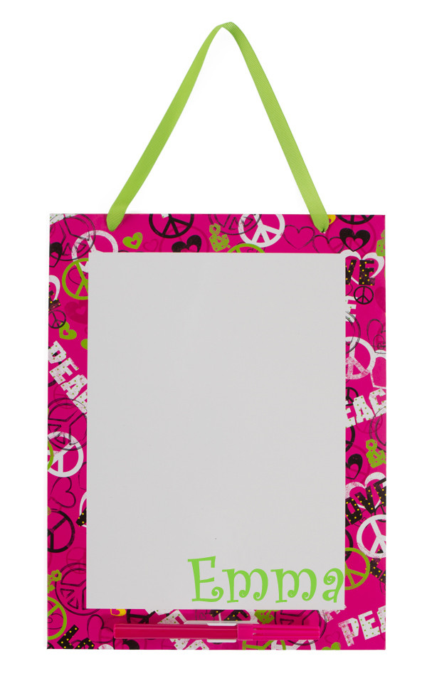 Monogrammed Dry Erase Board  www.tinytulip.com Peace Love Board with Lime Green Curly Font