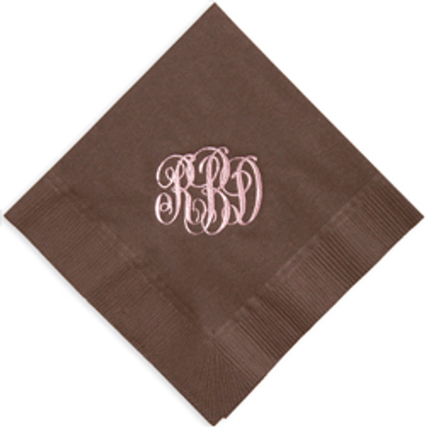 Personalized Solid Color 3-Ply Napkins   www.tinytulip.com Brown Napkin with Pearl Rose Antoinette Font