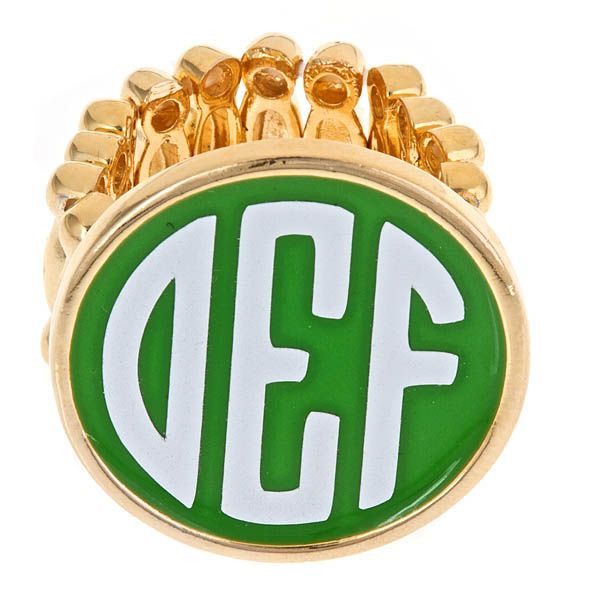 Gold Fashion Monogram Ring - Enamel Jewelry  www.tinytulip.com Green Ring with White Font