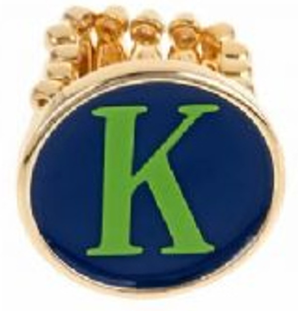 Gold Fashion Monogram Ring - Enamel Jewelry  www.tinytulip.com Navy Ring with Lime Green Font