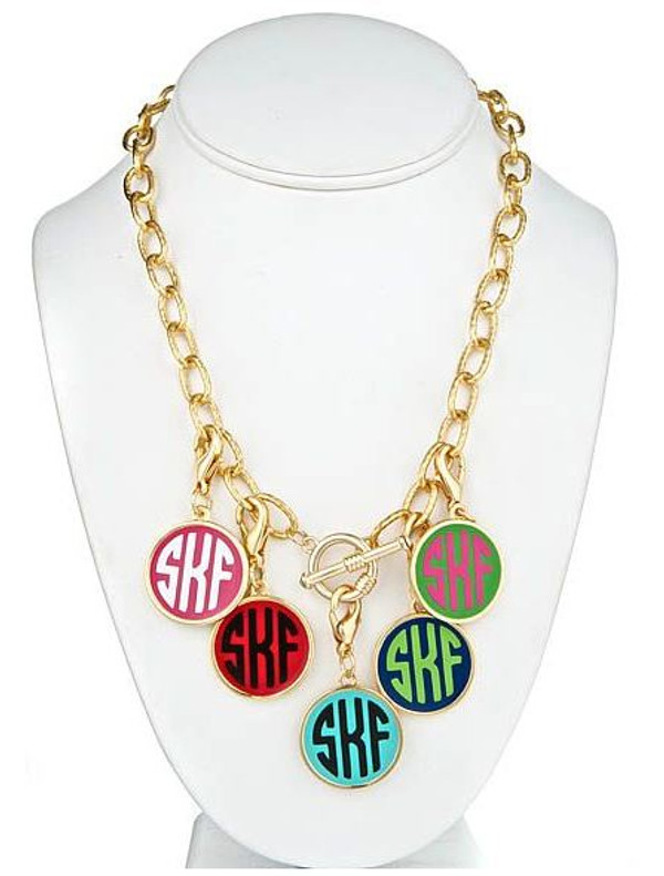 Gold Fashion Enamel Monogram Charm Toggle Necklace  www.tinytulip.com