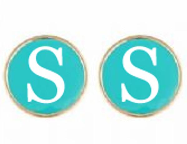 Gold Fashion Enamel Monogram Charm Earrings   www.tinytulip.com