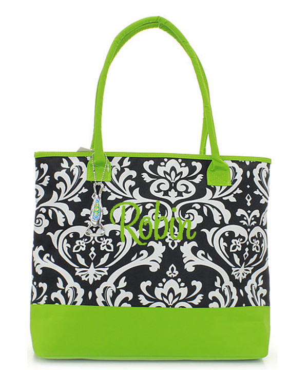 Damask Insulated Cooler Tote Bag Monogrammed   www.tinytulip.com Lime Green with Lime Green Cursive Font