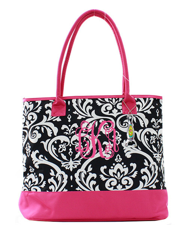 Damask Insulated Cooler Tote Bag Monogrammed  www.tinytulip.com Hot Pink with Hot Pink Interlocking Font