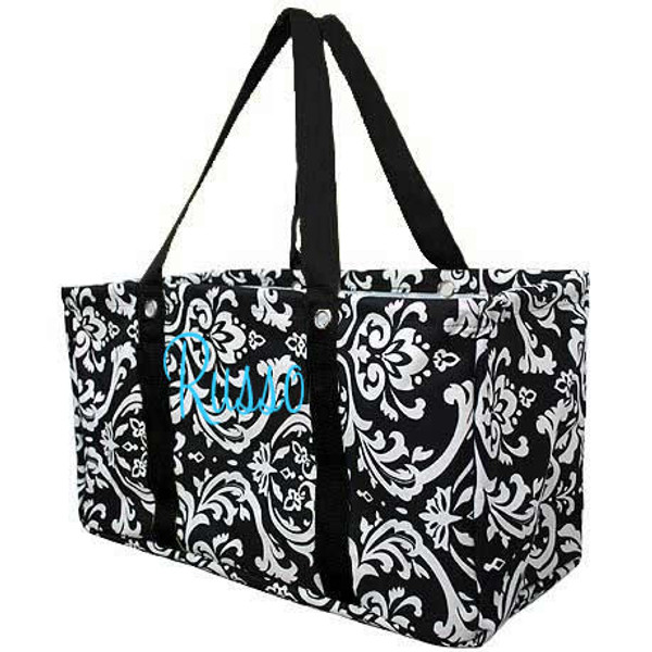 Monogrammed Utility Ultimate Carry All Tote   www.tinytulip.com Black Handles with Turquoise Cursive Font