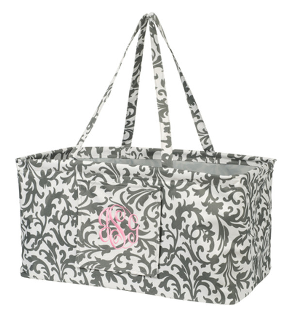 Monogrammed Utility Ultimate Carry All Tote   www.tinytulip.com Gray Damask with Pink Font