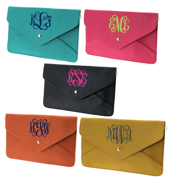 Monogrammed Envelope Clutch Cross Body Purse  www.tinytulip.com