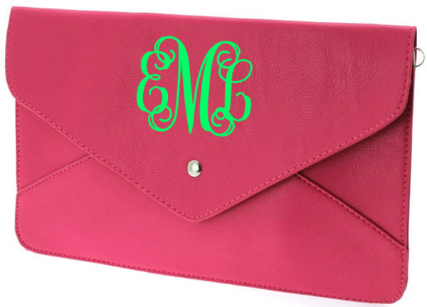 Monogrammed Envelope Clutch Cross Body Purse  www.tinytulip.com Hot Pink Clutch with Lime Green Interlocking Monogram
