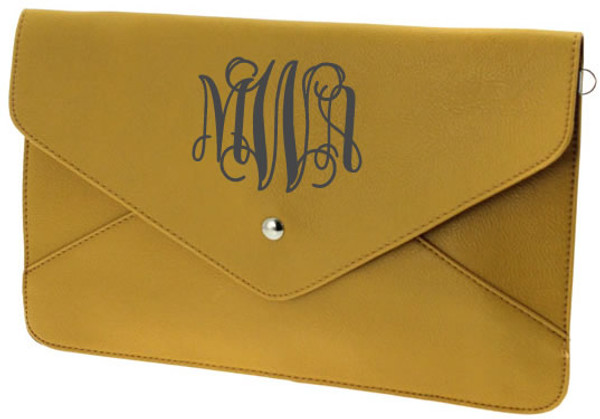 Monogrammed Envelope Clutch Cross Body Purse  www.tinytulip.com Mustard Clutch with Charcoal Gray Interlocking Monogram
