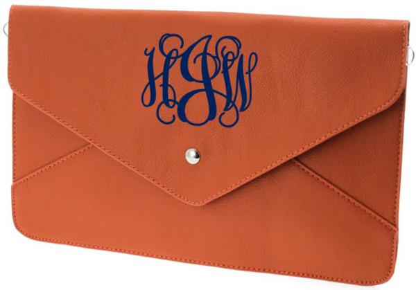 Monogrammed Envelope Clutch Cross Body  Purse  www.tinytulip.com Orange Clutch with Navy Interlocking Monogram