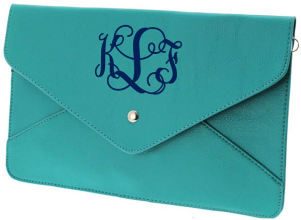 Monogrammed Envelope Clutch Cross Body Purse  www.tinytulip.com Turquoise Clutch with Navy Interlocking Monogram