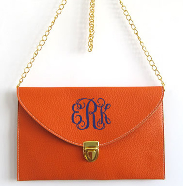 Monogrammed Envelope Latch Clutch Cross Body Purse  www.tinytulip.com Orange with Navy Interlocking Font