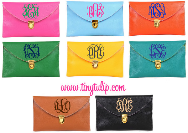 Monogrammed Envelope Latch Clutch Cross Body Purse  www.tinytulip.com