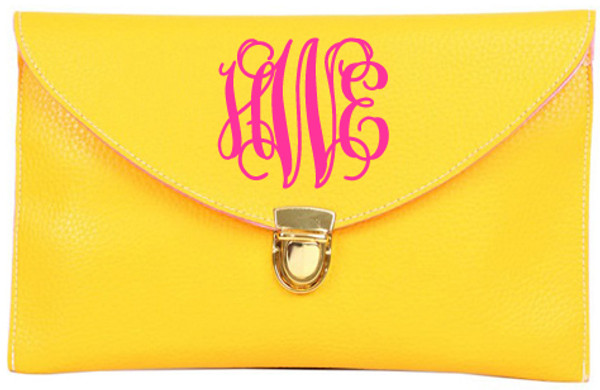 Monogrammed Envelope Latch Clutch Cross Body Purse  www.tinytulip.com Yellow with Interlocking Hot Pink Font