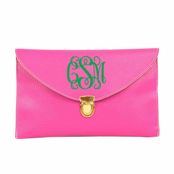 Monogrammed Envelope Latch Clutch Cross Body Purse  www.tinytulip.com Hot Pink with Interlocking Kelly Green Font