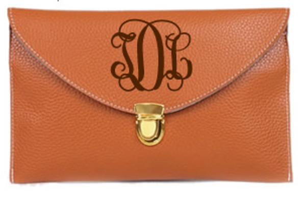 Monogrammed Envelope Latch Clutch Cross Body Purse  www.tinytulip.com Brown with Interlocking Brown Font