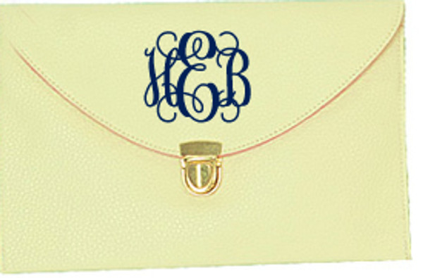Monogrammed Envelope Latch Clutch Cross Body Purse  www.tinytulip.com Beige with Interlocking Navy Font