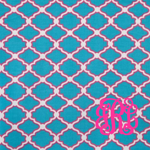 Monogrammed Tunic Swimsuit Cover Up   www.tinytulip.com Turquoise with Hot Pink Interlocking Monogram
