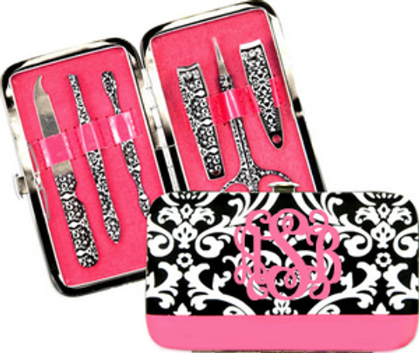 Damask Manicure Pedicure Set  www.tinytulip.com  Pink Interlocking Font