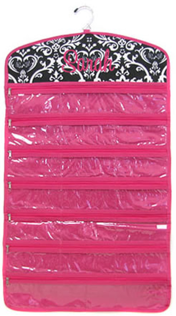 Damask Hanging Jewelry Organizer Monogrammed  www.tinytulip.com Hot Pink Cursive Font