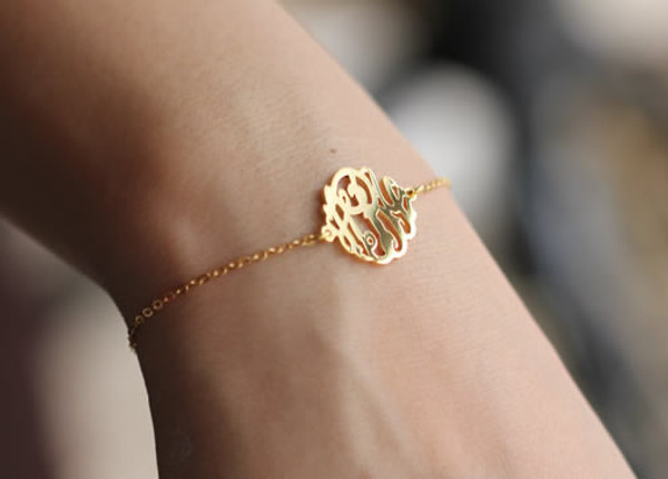 Monogrammed Cut Out Sterling Silver Bracelet   www.tinytulip.com