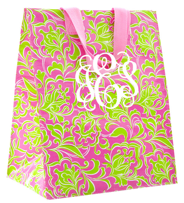 Pink and Green Preppy Monogrammed Reusable Grocery Tote  www.tinytulip.com White Interlocking Font