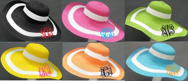 Monogrammed Summer Cabana Floppy Beach Hat  www.tinytulip.com