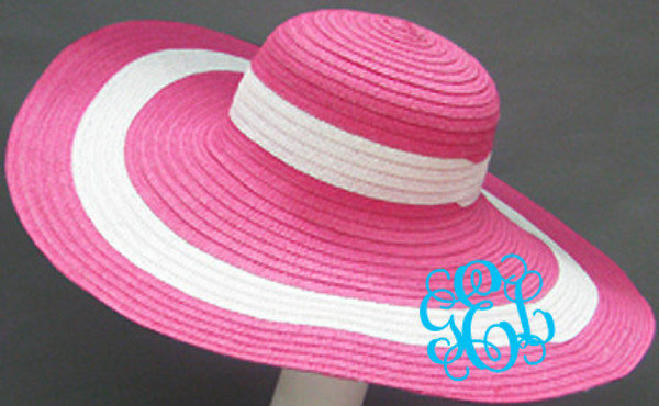 Monogrammed Summer Cabana Floppy Beach Hat  www.tinytulip.com Hot Pink with Turquoise Interlocking Font