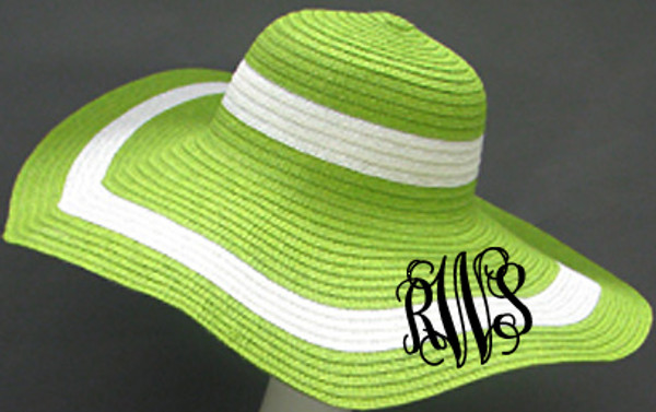 Monogrammed Summer Cabana Floppy Beach Hat  www.tinytulip.com Lime Green with Black Interlocking Font