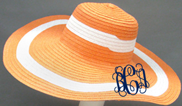 Monogrammed Summer Cabana Floppy Beach Hat  www.tinytulip.com Orange with Navy Interlocking Font